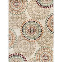 DCO1011 5x8 5 x 7 Medium Ivory, Teal Blue, and Red Area Rug - Deco