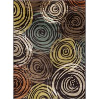 DCO1015 8x10 8 x 10 Large Brown, Ivory & Green Area Rug - Deco