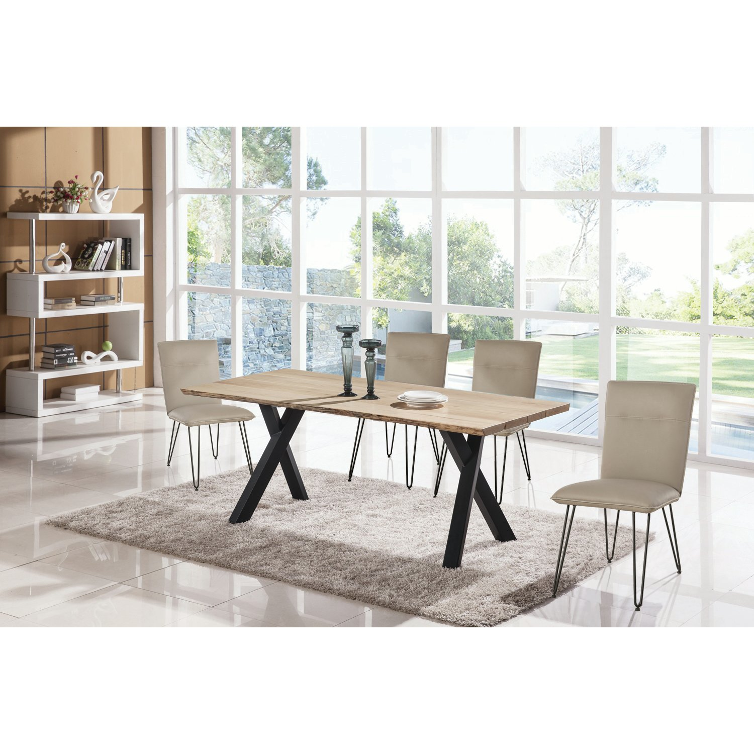 5 piece dining set modern live edge taupe and metal rc willey
