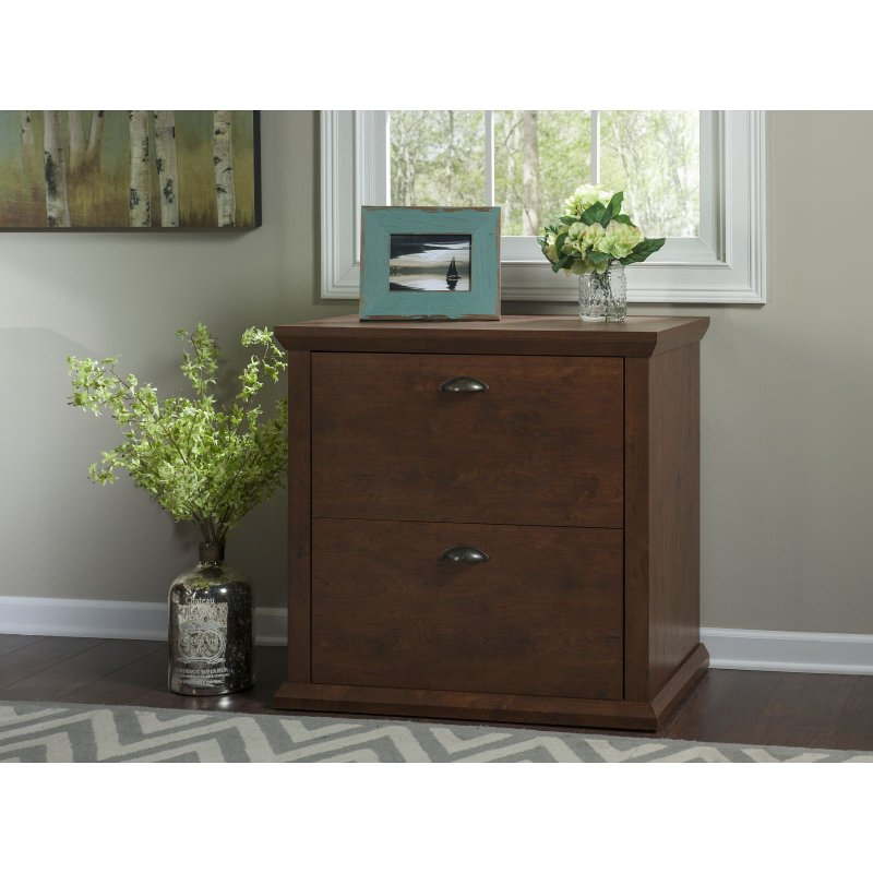 Cherry 2 Drawer Lateral File Cabinet- Yorktown