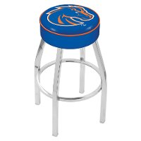 Chrome 25 Inch Cushion Swivel Counter Stool - Boise State