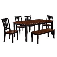 Transitional Black and Cherry 6 Piece Dining Set - Dover