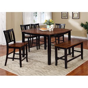 black and cherry 6 piece counter height dining set with bench country dover collection - Height Of Dining Room Table