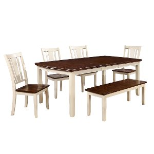 ... 6 Piece Dining Set With Bench   Dover White And Cherry
