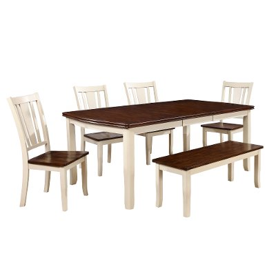 6 piece dining set with bench dover white and cherry - Dining Room Table With Chairs And Bench