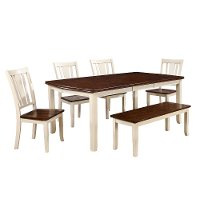White and Cherry 6 Piece Dining Set with Bench - Dover