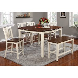 Clearance White And Cherry 6 Piece Counter Height Dining Set With Bench