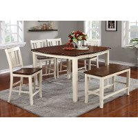 White and Cherry 6 Piece Counter Height Dining Set with Bench - Dover