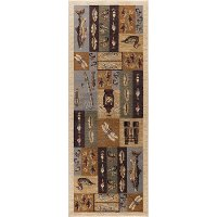 NTR6522 3x8 Tan, Brown, and Blue 7 Foot Runner Rug - Nature
