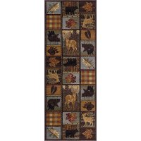 6568-Multi-3x8 Brown, Blue, and Red 7 Foot Runner Rug - Nature