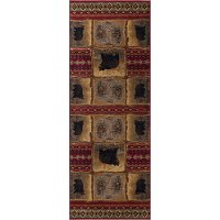 NTR6570 3x8 Brown, Red, and Green 7 Foot Runner Rug - Nature