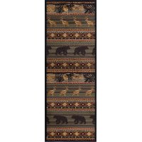 NTR6588 3x8 Green, Brown, and Tan 8 Foot Runner Rug - Nature