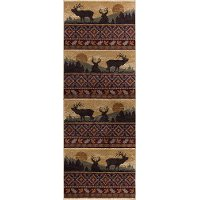 NTR6595 3x8 Red, Brown, and Beige 7 Foot Runner Rug - Nature