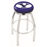 Chrome 25 Inch Swivel Counter Height Stool - BYU