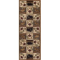 NTR6610 3x8 Green, Brown, and Beige 7 Foot Runner Rug - Nature