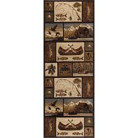 NTR6620 3x8 Green, Brown, and Beige 7 Foot Runner Rug - Nature
