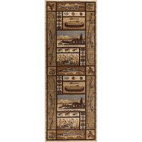 NTR6632 3x8 Green, Brown, and Beige 7 Foot Runner Rug - Nature