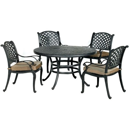 ... 5 Piece Round Cast Patio Dining Set   Moab