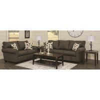 Contemporary Slate 7 Piece Living Room Set with Sofa Bed - Seaside