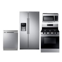 KIT Samsung 4 Piece Gas Kitchen Appliance Package with 25 Cu. Ft. Side by Side Refrigerator - Stainless Steel