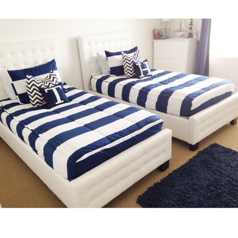 Beddy's Twin Navy and White Game On Bedding Collection