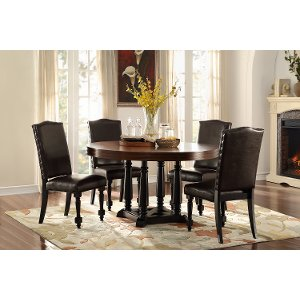 clearance traditional dark oak and black round dining table blossomwood - Black Dining Room Table