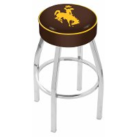 L8C125Wymng Chrome 25 Inch Cushion Counter Stool - University of Wyoming