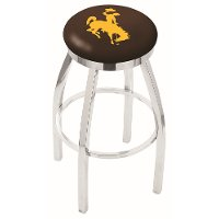 L8C2C25Wymng Chrome 25 Inch Counter Stool - University of Wyoming