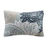 INK+IVY Embroidered Blue Throw Pillow