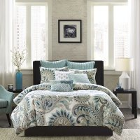 Mira Taupe and Blue Full-Queen Bedding Collection