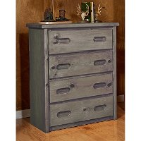 Rustic Driftwood 4-Drawer Chest - Fort