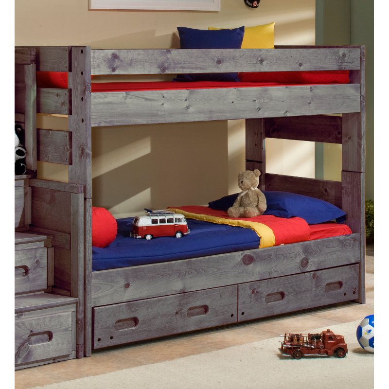 Fort Driftwood Rustic Twin-over-Twin Bunk Bed with Storage Drawers
