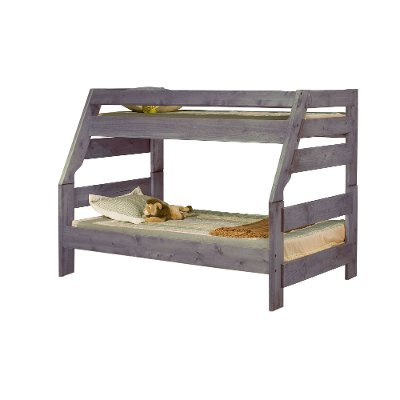 Rustic Driftwood Gray Twin-over-Full Bunk Bed - Fort
