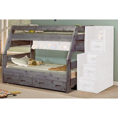Fort Driftwood Rustic Twin Over Full Bunk Bed
