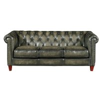 Traditional Charcoal Gray Leather Sofa - Fusion