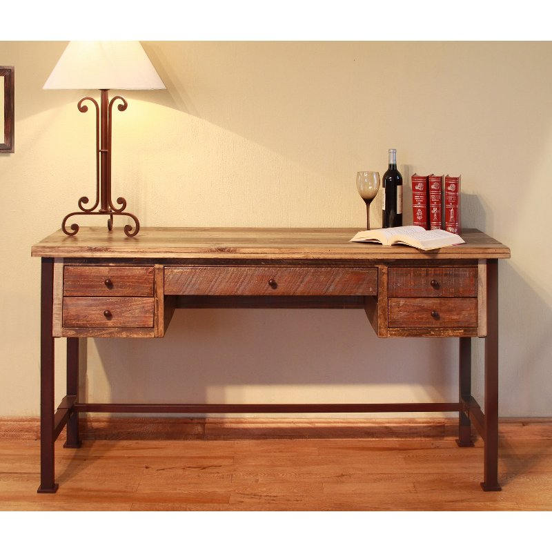 Two Tone Brown Small Office Desk - Antique