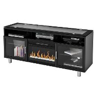 72 Inch Black Fireplace Media TV Stand