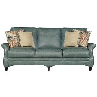 Classic Traditional Green Leather Sofa - Silver Lake