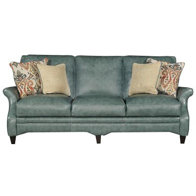 Beau Classic Traditional Green Leather Sofa   Silver Lake