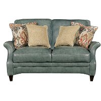 Classic Traditional Green Leather Loveseat - Silver Lake