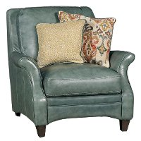 Classic Traditional Green Leather Chair - Silver Lake