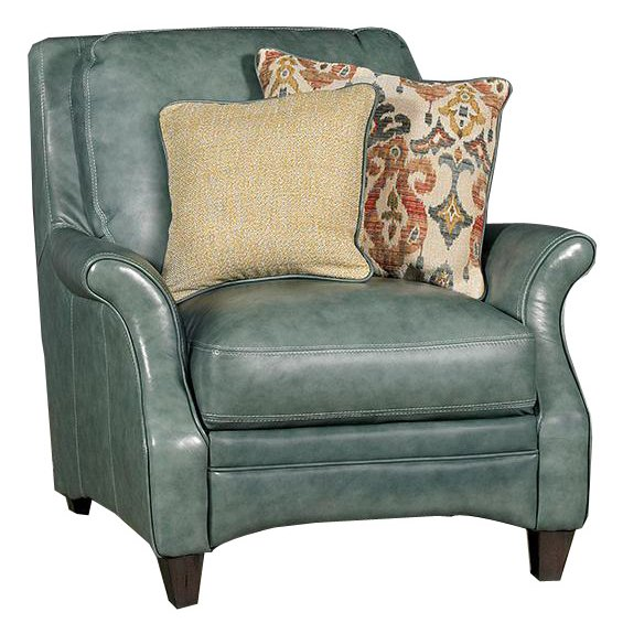 Marvelous Classic Traditional Green Leather Chair   Silver Lake
