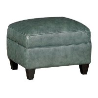 Classic Traditional Green Leather Ottoman - Silver Lake