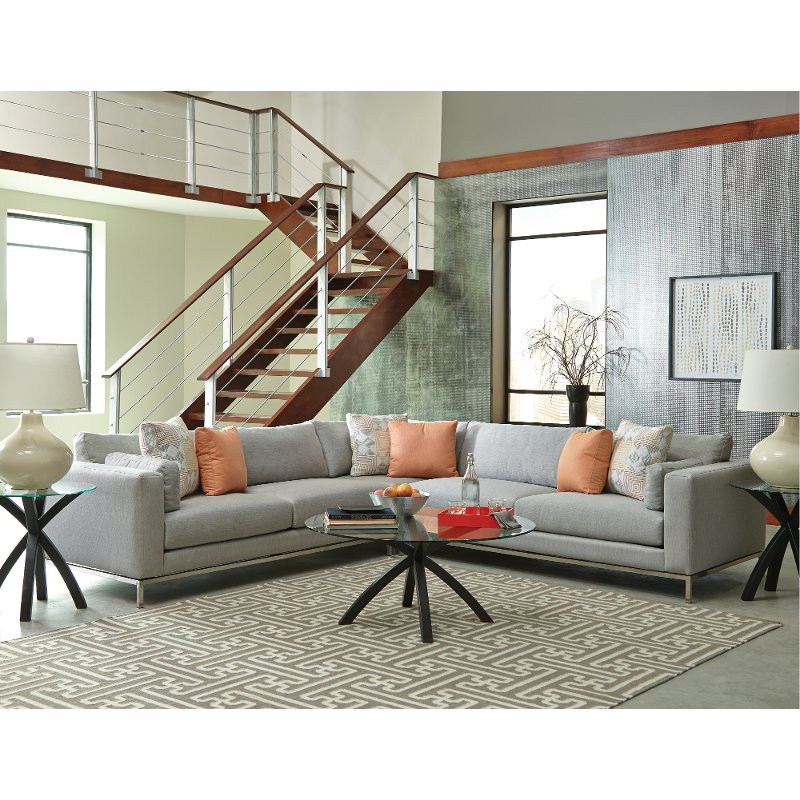 sunbrella living room furniture sunbrella gravel gray upholstered 3 modern sectional 14323