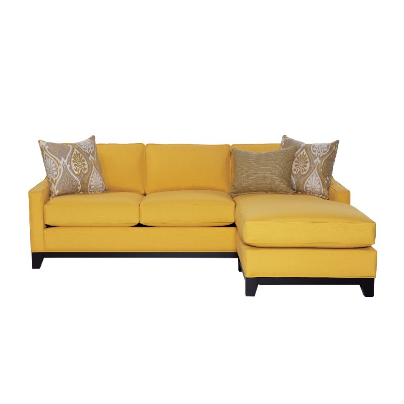 sunbrella living room furniture sunbrella daffodil yellow upholstered casual sofa chaise 14323