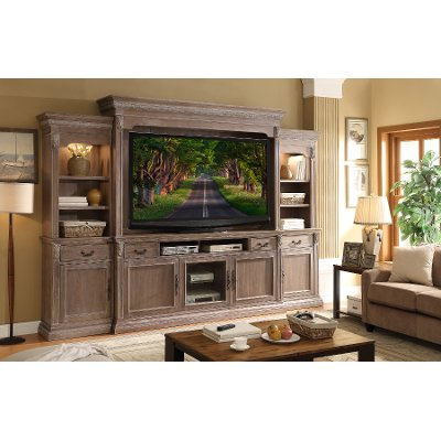 Delightful 4 Piece Ceruse Entertainment Center   Estancia