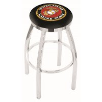L8C2C25Marine US Marines Chrome 25 Inch Counter Stool