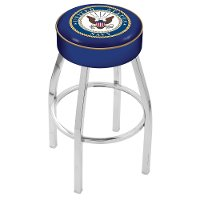 L8C130Navy Chrome 30 Inch Cushion Bar Stool - US Navy