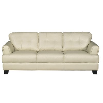 Contemporary Cream Leather Sofa - District | Rc Willey Furniture Store