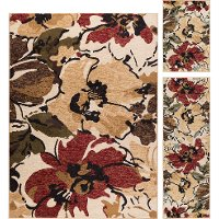 LGN4570SET3 3 Piece Set Red, Brown, and Blue Area Rug - Laguna